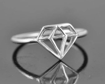 diamond ring, diamond shaped ring, wedding ring, promise ring, sterling silver ring, statement ring, cocktail ring