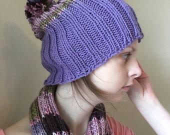 Girly Tasseled Scarf + Pom Hat, Set or Sold Separately