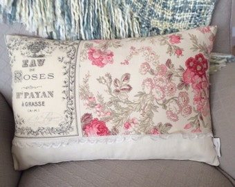 Rose Perfume Ad French Pillow Cover, Rose Pillow, Flower Pillow, Shabby Chic, French Ephemera, Mother's Day Gift, Vintage Art Pillow