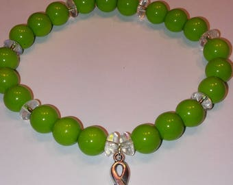 Muscular Dystrophy Awareness and Support Beaded Bracelet with Ribbon Charm Beads MD