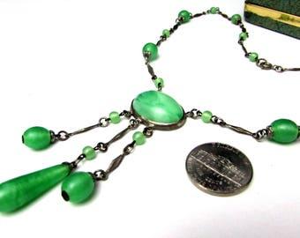 vintage czech green peking glass drop + brass silvertone necklace negligee | pendant dangles drops | 30s art deco 1930s bohemian jewelry