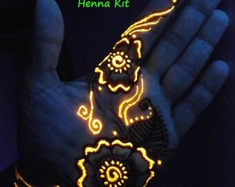Glow in the Dark Henna Kit -  Mehndi, bridal, gift for her, rave, teens, girlfriend,birthday, party,