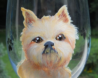 Brussels Griffon Wine Glass ~ Ready to Ship ~ Brussels Griffon Wine Glass ~ Dog Wine Glass ~ Painted Wine Glass ~ Griffon Owner Gift