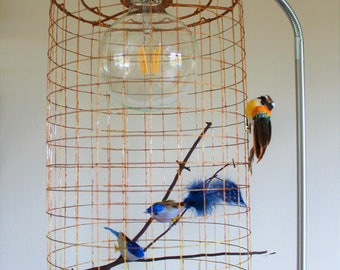 Birdcage lampshade etsy birdcage bird decor lampshade keyboard keysfo Images