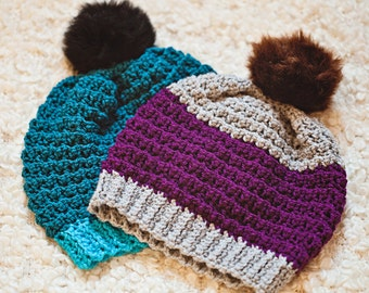 Crochet hat PATTERN - Slouchy Beanie (sizes baby, toddler, child, adult) Instant download
