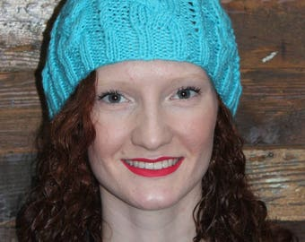 Turquoise Cable Knitted Woman's Hat