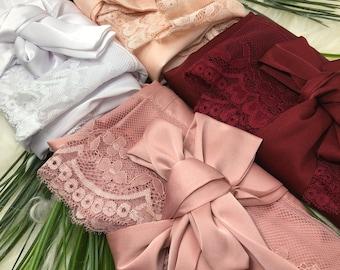 SALE Satin Robe, Bridesmaid Robe, Satin Lace Robe, Birdesmaid Robes, Lace Wedding Dress, Wedding Accessories, Bridal Robe, Bride To Be Gift