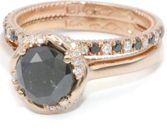 Black diamond rose gold Engagement Ring Set