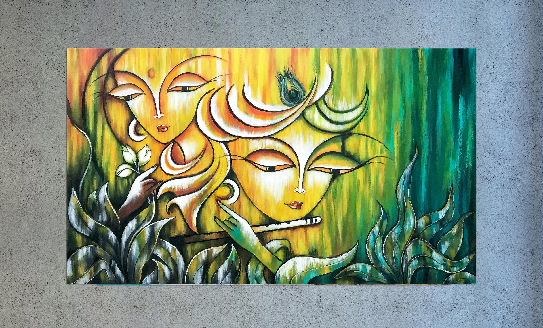 Radha Krishna Painting Indian art Hindu God Modern India