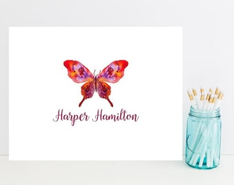 Watercolor Butterfly Stationery