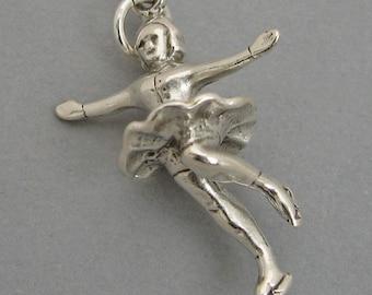 FIGURE ICE SKATER Sterling Silver 925 Charm Pendant 3D Female  3991
