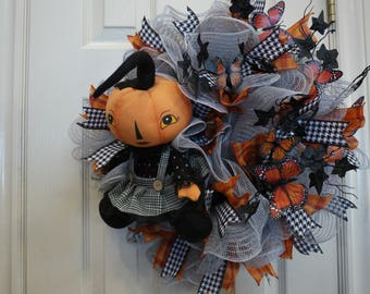 Halloween Wreath, Orange Pumpkin Girl Wreath, Holiday Decor, Entertaining, Free Shipping, Halloween Decor, Door Wreath, Party Decor,