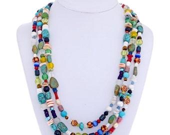 Treasure Necklace American Indian Three Multi Beaded Strands