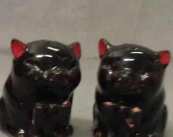 Black Cats with Red Ears and Gold Whiskers and Toes Black cats Red Ears Salt and Pepper Shaker Set AS IS