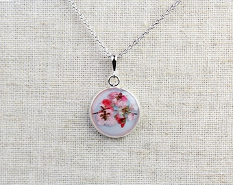 Serenity Pressed Flower 18mm Pendant Necklace - Rose Quartz and Serenity Blue