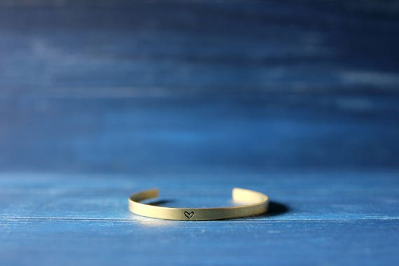 Mantra cuff bracelet Inspirational brass bangle Personalized handstamped jewelry 4mm