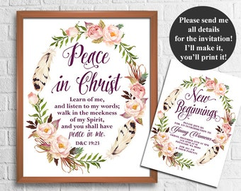 LDS Young Women Mutual Theme 2018, Peace in Christ, D&C 19:23, New Beginnings LDS Young Women Invitation, 2018 mutual theme printable