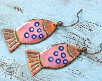 Pink fish copper enamel dangle earrings - Natural torch fired jewelry