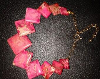 Imperial pink jasper graduated  squares bracelet.