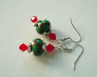 READY TO SHIP Christmas Red Green and White Lampwork Beaded Earrings