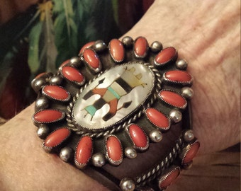 Sterling silver native American Zuni inlaid and coral cuff