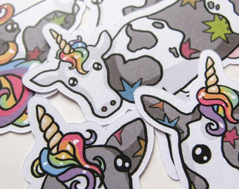 Rainbow Cow Stickers, Unicorn Sticker, Cute Cow, Scrapbooking, Journalling, Notebook Stickers, Paper Stickers, Sticker Flakes