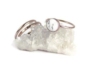 Marble Ring, White Marble ring, Howlite Ring, Marble, White Marble, Gemstone ring, stacking ring, Rose Gold rings, White turquoise, minimal