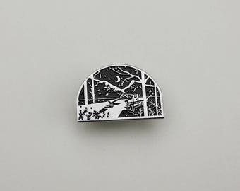 Night Drive - Landscape Enamel Pin - Wanderlust Lapel Pin