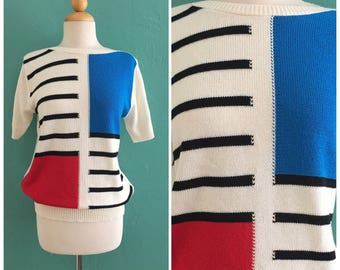 80's color block hand knit sweater //  knit fall top