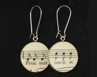"Bach B-minor Mass ""Pleni sunt coeli"" Handmade Recycled Paper Earrings"