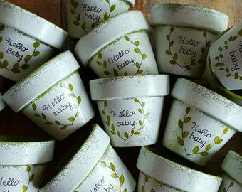 Baby Shower Favors - Painted Flower Pots - Small Flower Pots - Succulent Planters - Small Painted Pots - Personalized