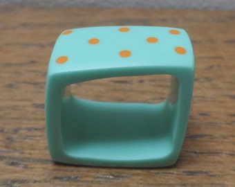 Turquoise ring - resin ring with orange dots