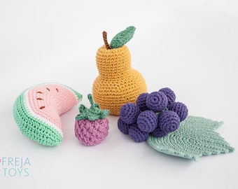 Hand-Crocheted Fruit Set /4pcs/ | Recycled Cotton | Baby Rattle | Crochet Toy | Baby Play Set | Nursery Decoration