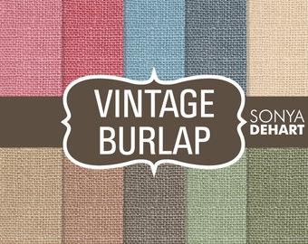 """80% OFF SALE Burlap Digital Paper Vintage """"Burlap Paper"""" Linen Jute Textures Scrapbooking Cards"""