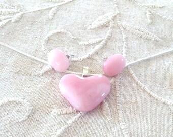 Pendant Necklace, Pink Heart, Earrings, Art Glass, Fashion Jewelry