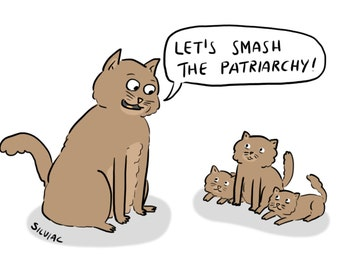 A5 Smash The Patriarchy Cats Print