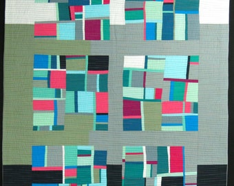 """Quilt Art, Art Quilt, Wallhanging. Motif #9. 49""""H x 36""""W. Pieced and quilted in 100% cotton, hanging sleeve."""