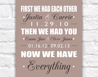 Important Date Art, Custom  Art Print, First we Had Each Other, Then we Had You, Now we have Everything - Family Dates | WF376