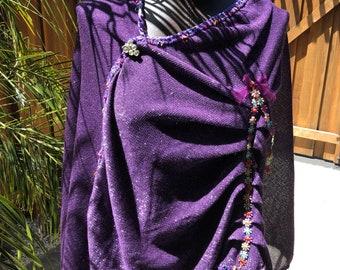 Large Shawl in Purple Glitter