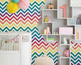 Self adhesive vinyl temporary removable wallpaper, wall decal - Rainbow chevron- 010