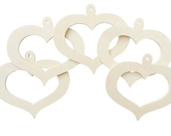 DIY wood openwork heart creative hobbies decoupage 10 Pcs