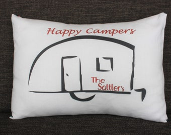 Happy Campers Personalized Handmade Throw Pillow for Campers and Trailers - Black and Red Text