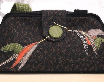 Range of Emotion   Brown and Black brocade with birds bag