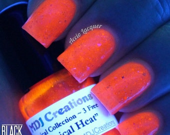 Tropical Heat ~ Flourescent Glow In Blacklight Jelly Glitter Polish by MDJ Creations