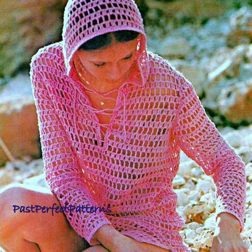 Instant download pdf vintage crochet pattern mesh hoodie zoom bankloansurffo Gallery