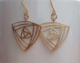 Triangle abstract matte gold filigree earrings