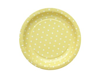 10 Yellow Paper Plates Polka Dot Party Plates Birthday Paper Plates Baby Shower Plates Dinner Plates Party Supplies Plate Wedding Cake Plate
