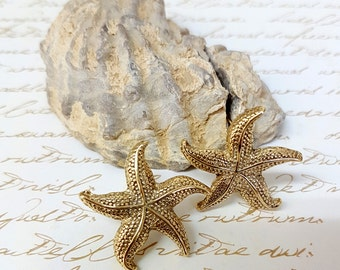 Boho Earrings, Bohemian Jewelry, Starfish Earrings, Gold Stud Earrings, Boho Chic Wedding Earrings, Gold Starfish Studs, Beach Jewelry