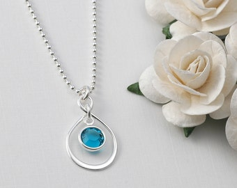 Infinity necklace with birthstone - sterling silver