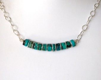 Natural Turquoise Heishi Beads and Hammered Sterling Silver Chain Necklace **FREE DOMESTIC SHIPPING**